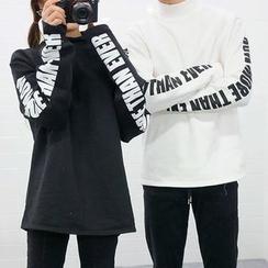 Seoul Homme - Lettering-Sleeve Mock-Neck T-Shirt