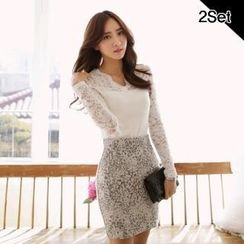 SUVINSHOP - Set: Lace-Panel Top + Patterned Pencil Skirt