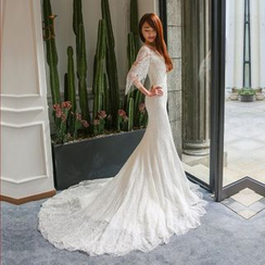 YACCA - Elbow Sleeve Mermaid Wedding Ball Gown With Train