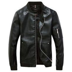 RUYA - Faux-Leather Zip Jacket