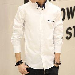 Romantica - Contrast Collar Button-Down Long-Sleeve Shirt