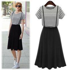 VIZZI - Stripe Mock Two-Piece Dress