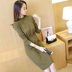 Bubbleknot - Long-Sleeve Tie Waist Knit Dress