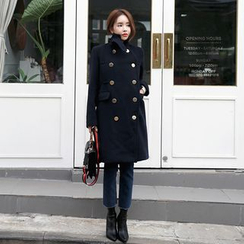 DABAGIRL - Funnel-Neck Metal-Button Military Coat