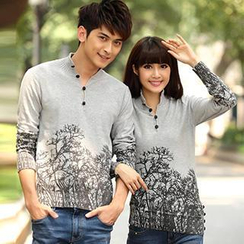 Igsoo - Couple Long-Sleeve Print Knit Top