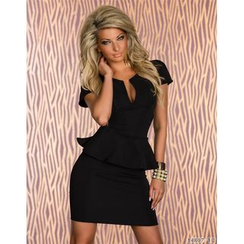 Hotprint - Split Neck Short Sleeve Peplum Mini Dress