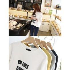 hellopeco - 3/4-Sleeve Lettering T-Shirt