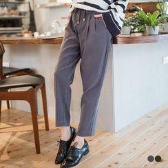 OrangeBear - Peachskin Drawstring Pleated Jogger Pants
