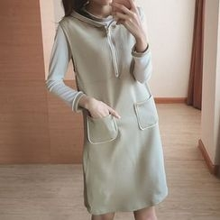 Reis - Set: Tipped Long Sleeve T-Shirt + Pocketed Hooded Tank Dress