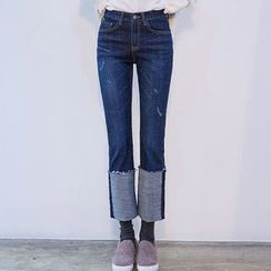chuu - Cuff-Hem Distressed Straight-Cut Jeans