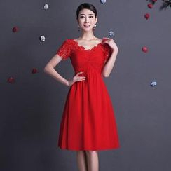 Fantasy Bride - Short-Sleeve Cocktail Dress