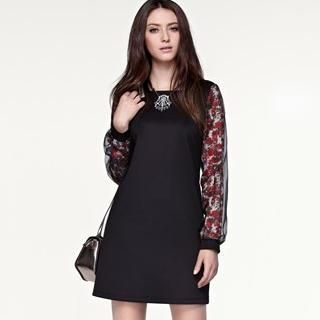 Moonbasa - Floral-Sleeve Dress