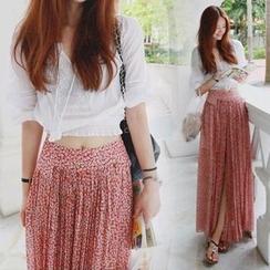 trendedge - Set: Sheer Top + Floral Print Maxi Skirt