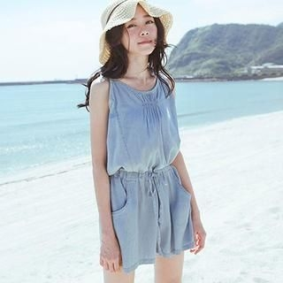 CatWorld - Drawstring-Waist Denim Playsuit