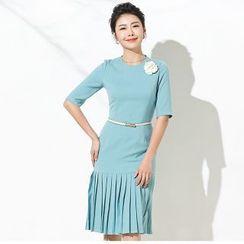 Aision - Elbow-Sleeve Pleated Sheath Dress
