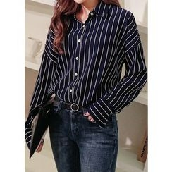 J-ANN - Drop-Shoulder Striped Blouse