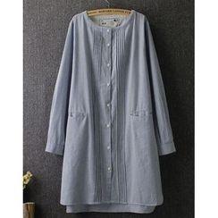 藍玫瑰衣坊 - 長款有袖飾鈕釦連衣裙