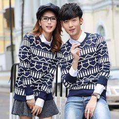 hooboo - Couple Matching Patterned Sweater
