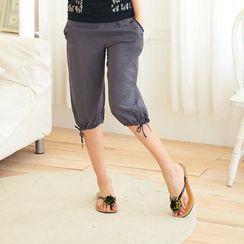 RingBear - Drawstring Cropped Pants