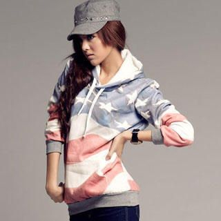 PUFII - American Flag Hooded Pullover