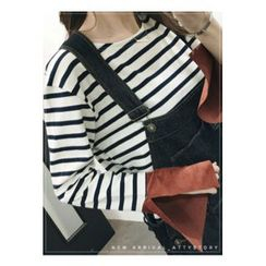 ATTYSTORY - Slit-Sleeve Striped T-Shirt