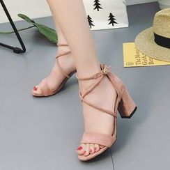 Zandy Shoes - Cross-Strap Chunky-Heel Sandals