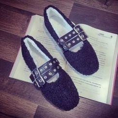 QQ Trend - 飾扣抓毛平跟鞋