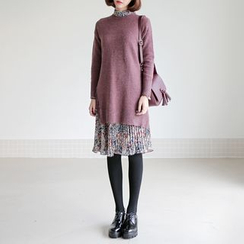 WITH IPUN - Set: Crew-Neck Sweater + Floral Print Dress