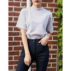 FROMBEGINNING - Mock-Neck Stripe Top