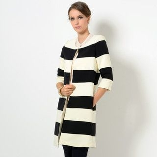 YesStyle Z - Striped Open-Front Coat