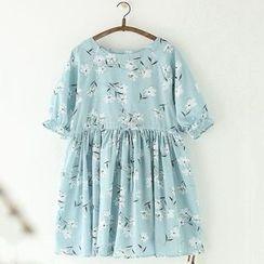 11.STREET - Floral Print Linen Cotton Short-Sleeve Dress