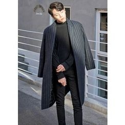 GERIO - 羊毛混紡條紋大衣