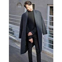 GERIO - Wool Blend Stripe Coat