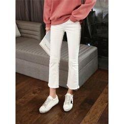 hellopeco - Fringe-Hem Boots-Cut Pants