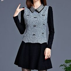 Violette - Mock Two Piece Bow Accent Long Sleeve Collared Dress