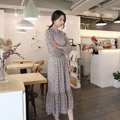 Hello sweety - Mock-Neck Long Chiffon Dress