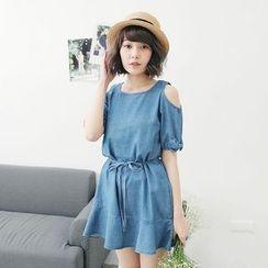 Tokyo Fashion - Short-Sleeve Shoulder Cut Out Denim Dress