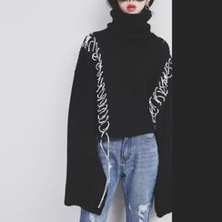 Sonne - Lace-Up Turtleneck Knit Sweater