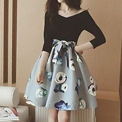 Champi - Long-Sleeve Mock Two Piece Floral Dress