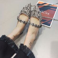 Crystella - Studded Pointed Flats