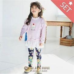 LILIPURRI - Set: Ruffle-Hem T-Shirt + Floral Pattern Pants