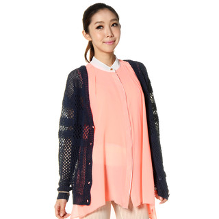 59 Seconds - Chiffon Back Loose-Knit Cardigan