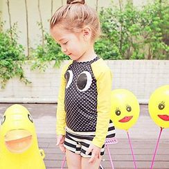 Moonrise Swimwear - Kids Set: Eye Accent Rashguard + Striped Swimshorts