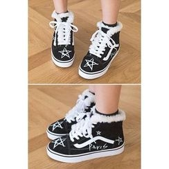 migunstyle - Faux-Fur Lace-Up Sneakers