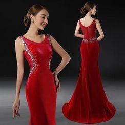 Royal Style - Rhinstone Sleeveless Mermaid Evening Gown