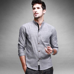 Quincy King - Pinstriped Stand-collar Long-Sleeve Shirt