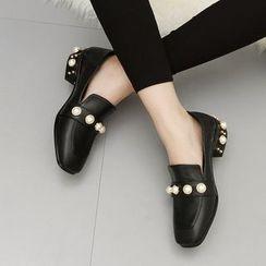 安若 - 仿珍珠低跟樂福鞋