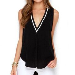 Chika - Frilled V-neck Sleeveless Top