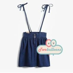 JVL - Tie-Shoulder Denim Suspenders Skirt