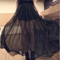 QZ Lady - Inset Shorts Chiffon Maxi Skirt